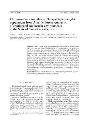Chromosomal variability of Drosophila polymorpha populations from ...