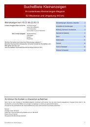 SucheBiete Kleinanzeigen-Magazin Wackerow - Kostenlose ...