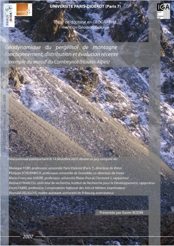 [tel-00203233, v1] Géodynamique du pergélisol alpin ...
