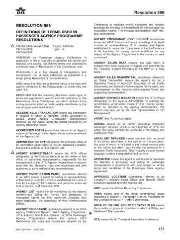 Passenger Agency Conference Resolutions Manual, 33rd ... - IATA