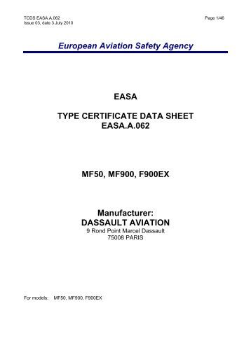 European Aviation Safety Agency EASA TYPE CERTIFICATE DATA