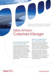 Codeshare Manager - Sabre Airline Solutions