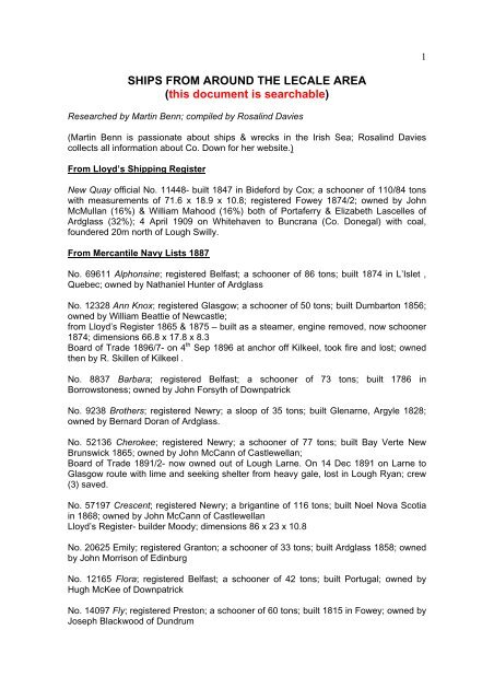 Ships From Around The Lecale Area This Document Is