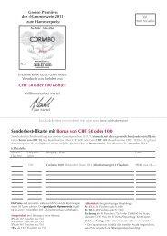 Sonderbestellkarte mit Bonus von CHF 50 oder 100 - Martel
