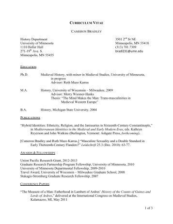 Curriculum Vitae - University of Minnesota
