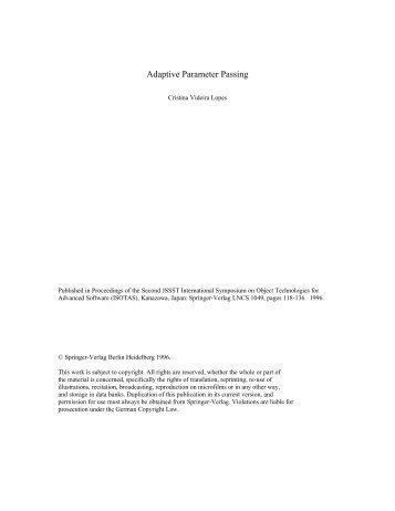 Adaptive Parameter Passing - CiteSeerX