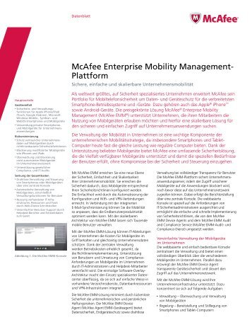 McAfee Enterprise Mobility Management- Plattform