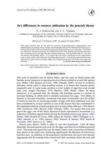 Sex differences in resource utilization by the peacock blenny - ISPA