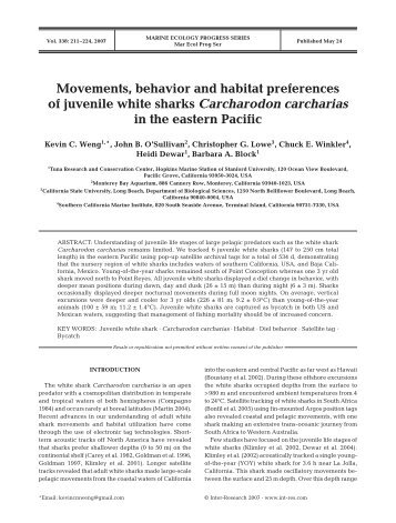 Movements, behavior and habitat preferences of juvenile white ...
