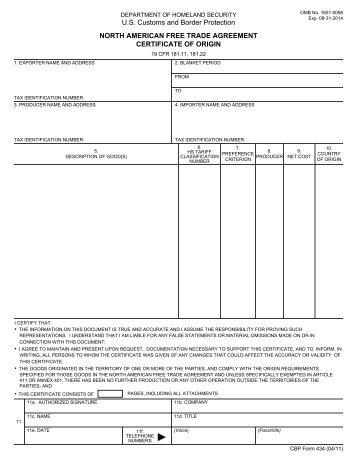 Certificate Of Origin         U.s. Customs And Border   Forms