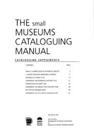 The Small Museums Cataloguing Manual Supplements