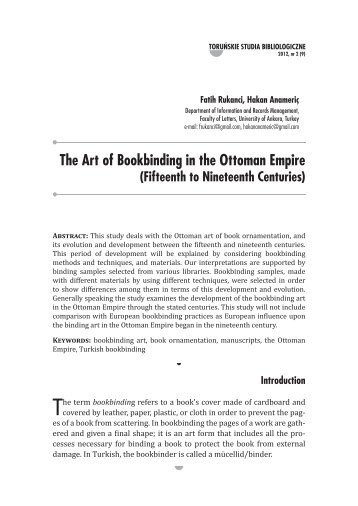 The Art of Bookbinding in the Ottoman Empire (Fifteenth to ...