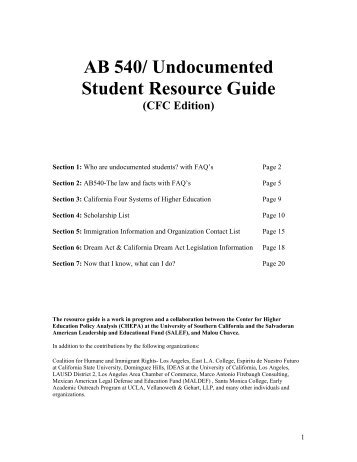 AB 540/ Undocumented Student Resource Guide - AVID Region IV
