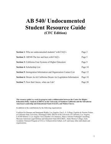 AB 540/ Undocumented Student Resource Guide - AVID Region IV