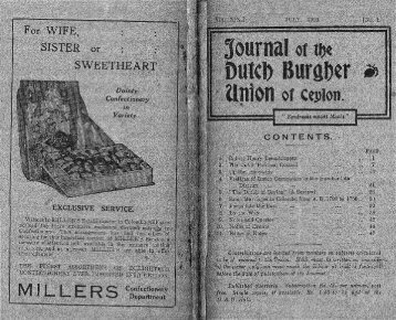 Journal of the - Dutch Burgher Union of Ceylon