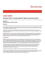 European Union - Canada debate IP rights for ... - Norton Rose