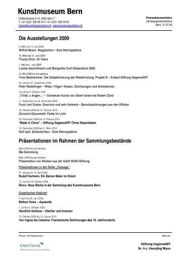 Die Ausstellungen 2009 Präsentationen im ... - Kunstmuseum Bern