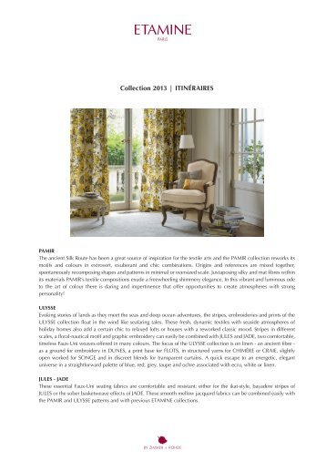 Collection 2013 | itinéraires - Zimmer + Rohde