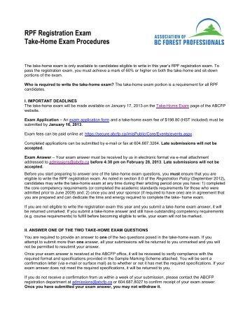 RPF Registration Exam Take-Home Exam Procedures