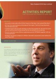 ACTIVITIES REPORT - New Zealand Oil & Gas Ltd