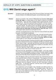 Q15) Will David reign again? - Herald of Hope