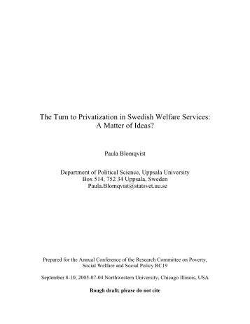The Turn to Privatization in Swedish Welfare Services: A Matter of ...