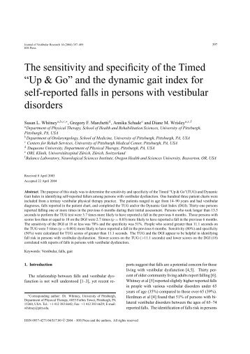 """The sensitivity and specificity of the Timed """"Up & Go ... - Jvr-web.org"""