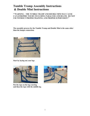 Tumble Tramp Assembly Instructions & Double Mini ... - Ross Athletic
