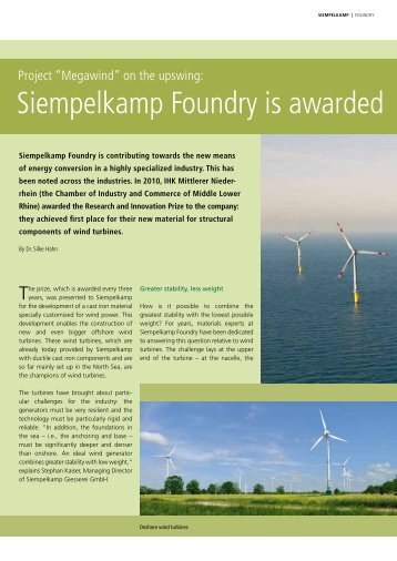 """Project """"Megawind"""" on the upswing: Siempelkamp Foundry is"""