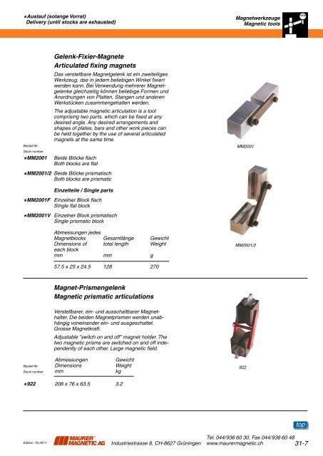 31 Magnetwerkzeuge 31 Magnetic tools - Maurer Magnetic AG
