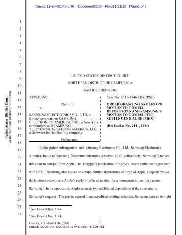Order Granting Motion to Compel Depos.pdf - United States District ...