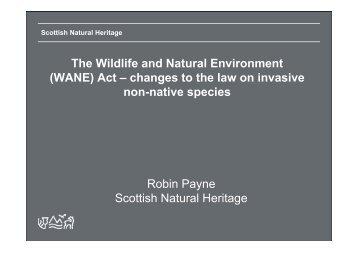 (WANE) Act - Scottish Natural Heritage