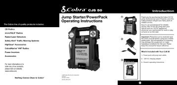 Jump Starter/PowerPack Operating Instructions - Cobra Electronics