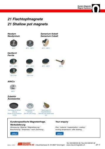 21 Flachtopfmagnete 21 Shallow pot magnets - Maurer Magnetic AG