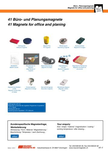 41 Büro- und Planungsmagnete 41 Magnets for office and planing