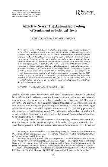 Affective News: The Automated Coding of Sentiment ... - Stuart Soroka