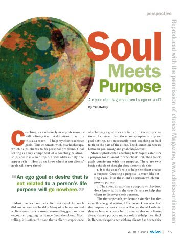 Tim Kelley Choice Article - Know Your Purpose