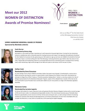Meet our 2012 WOMEN OF DISTINCTION Awards of Promise ...