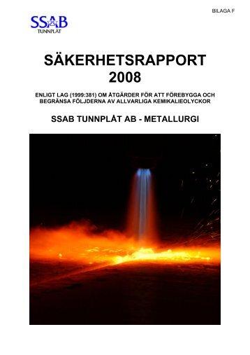 SÄKERHETSRAPPORT 2008 - SSAB