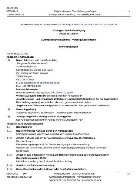 D-Stuttgart: Gebäudereinigung - SSB