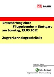 Entschärfung einer Fliegerbombe in Stuttgart am Sonntag ... - VVS