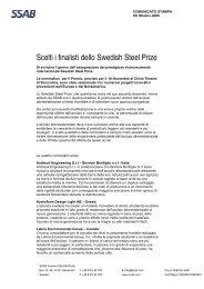 Scelti i finalisti dello Swedish Steel Prize - SSAB.com