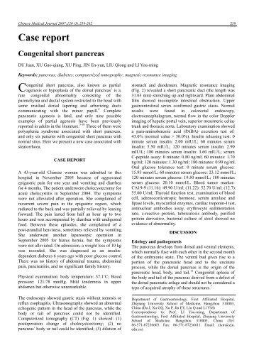 Case report Congenital short pancreas - Chinese Medical Journal