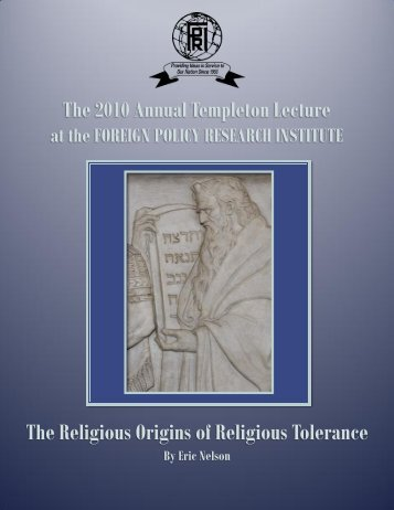 The Religious Origins of Religious Tolerance - Foreign Policy ...