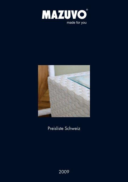 Preisliste Schweiz 2009 - Mazuvo