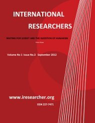International Researcher Volume No.1 Issue No. 3 September