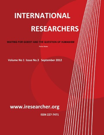 International Researcher Volume No.1 Issue No. 3 September