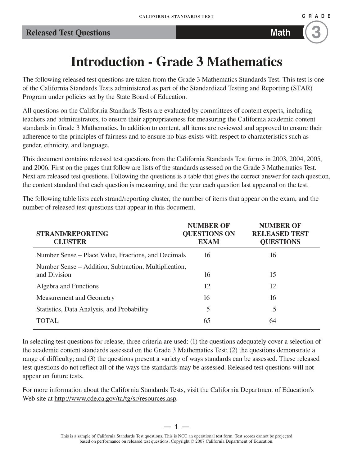 Math Taks Test 4th Grade 2006 Released 5th Grade Science