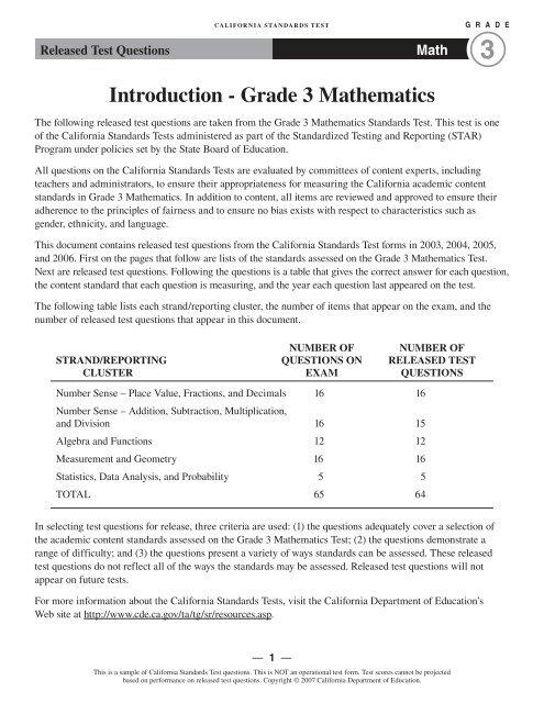 Grade 3 Math Released Test Questions ... - Kids Newsroom
