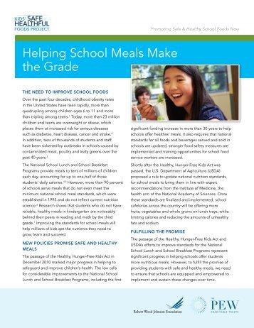 Helping School Meals Make the Grade - Kids' Safe & Healthful Foods